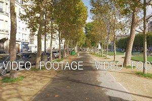 Tree lined walkway in autumn Paris