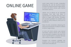 Online Gaming Poster with Man