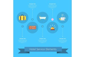 Hotel Service Elements Icons Vector