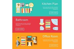 Kitchen Plan and Bathroom Vector