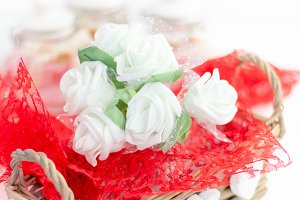 Roses and a hearts on white backgrou