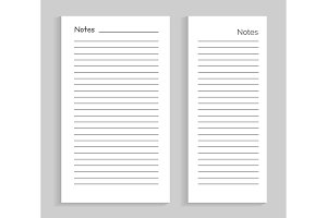 Notes Empty Sheet Images Set Vector