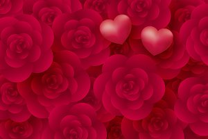 Rose flowers and hearts background