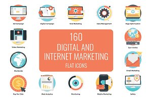 160 Flat Digital Marketing Icons