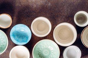 Empty ceramic bowls