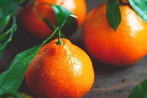 Tasty tangerines on a table