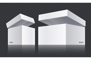 White open boxes vector. Realistic.