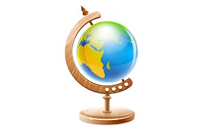 Planet Earth globe on wooden. Vector