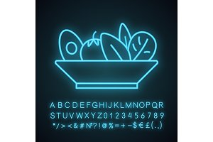 Salad neon light icon