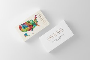 Watercolor Art US Map Business Card