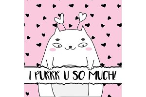 Doodle Valentines day cat card
