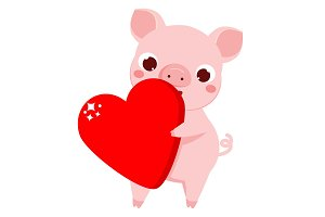 Cartoon cute pig with big heart