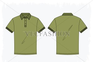 Men Olive Green Button Up Polo Shirt