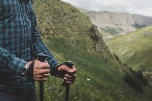 Traveler With Trekking poles