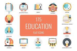 175 Flat Education Icons