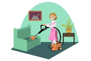 Cleaning carpetr woman