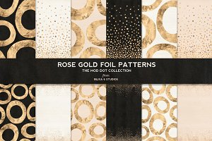 Rose Gold Mod Dot Foil Patterns