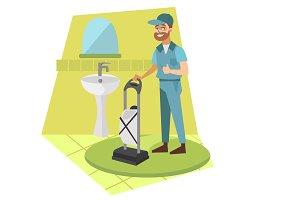 Man vacuum cleaner in bathroom
