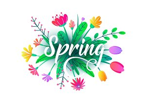 Spring word vector background with