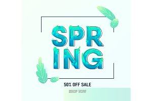 Spring sale banner background with