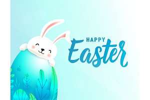 Happy easter card with big 3d spring