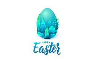 Happy easter card, big 3d egg with