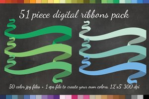 51 Curly Ribbon Clipart +Vector Pack