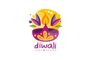 Happy Diwali logo design, festival