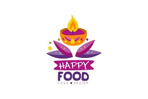 Happy food logo design for poster
