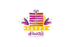Happy Diwali logo design, Hindu