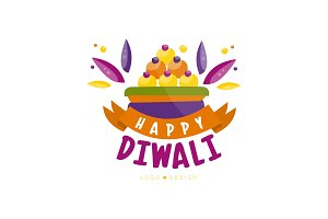 Happy Diwali colorful logo design