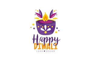Happy Diwali logo design template