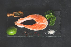 Salmon steak and spices for cooking