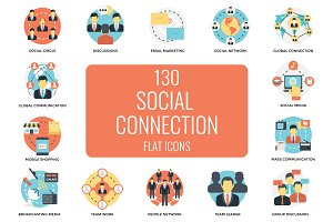130 Social Connections Flat Icons