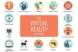 60 Flat Virtual Reality Icons Set
