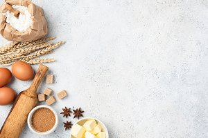 Ingredients for baking on background