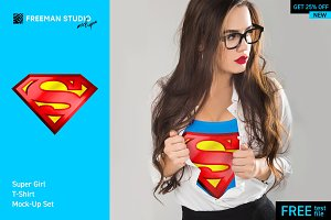 Super Girl T-Shirt Mock-Up Set