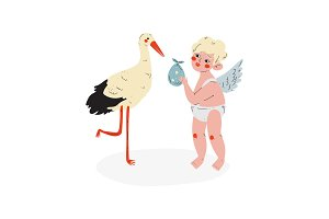 Cute Cupid Giving Baby to Stork