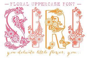 Siri Floral Uppercase Font