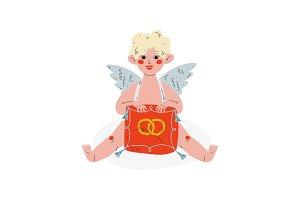Cute Funny Cupid Holding Cushion
