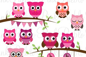 Girl Baby Shower Owl Clipart/Vector