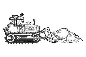 Bulldozer shove snow engraving