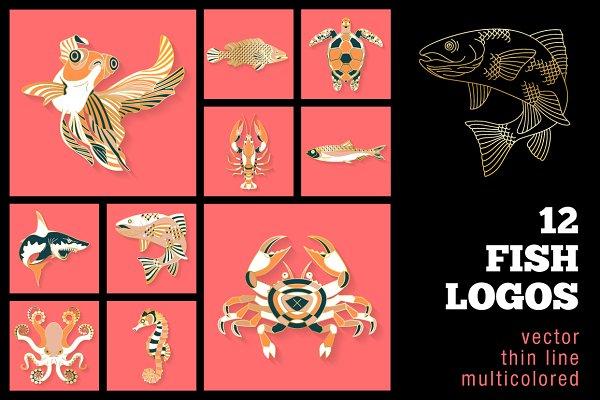 12 Fish & Sea Life Logos