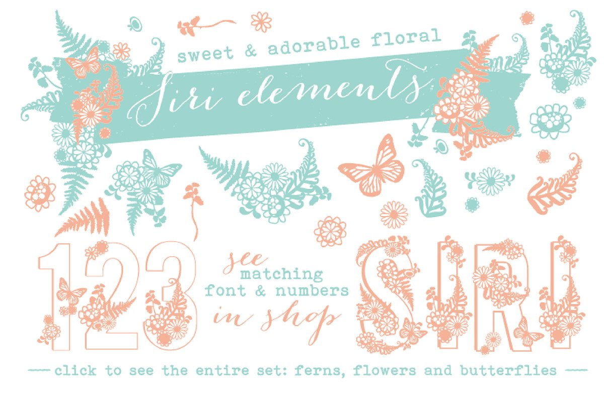 Siri Floral Elements Font