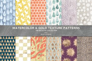 Watercolor & Gold Texture Patterns