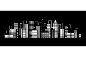 Night city vector illustration. Dark
