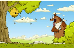 A hungry bear watching bee hive