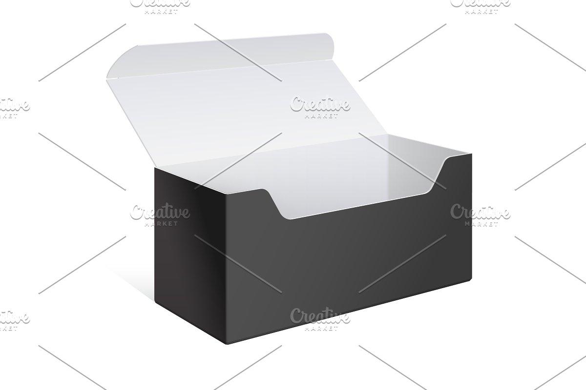 Realistic Black Open Software Box