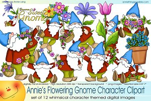 Flowering Gnome Character Clipart