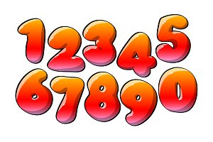 Red Numerical digits. Holiday and pa